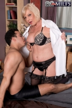 She's banging him. This babe is mature enough to be his grandmother