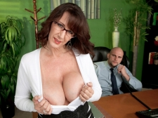 Fucking the humongous titted SEXY HOUSEWIFE who's wearing glasses